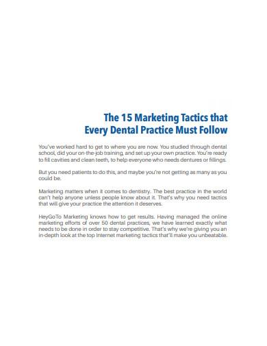 dental marketing plan and tactics