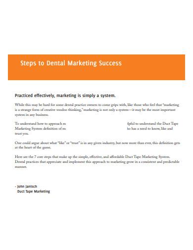 dental marketing success plan