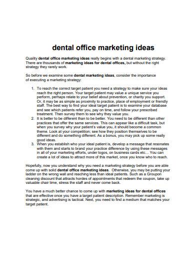 dental office marketing plan ideas
