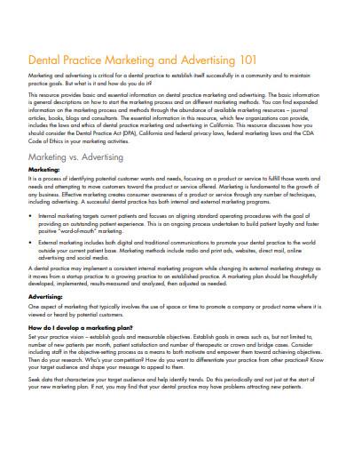 dental practice marketing and advertising plan