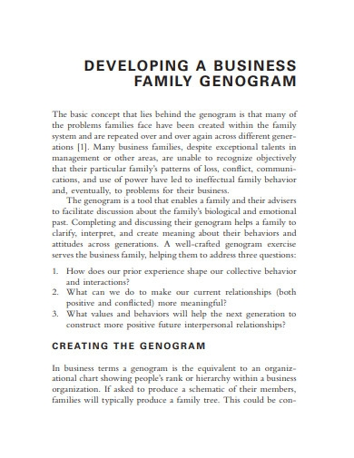 developing a business family genogram