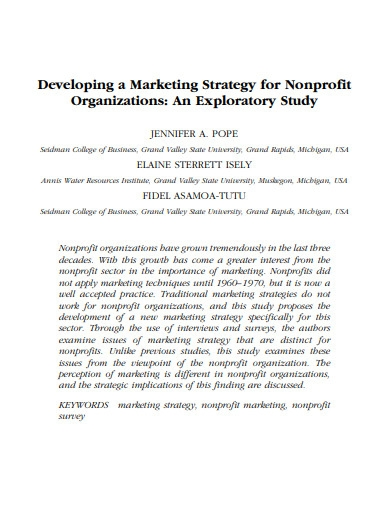 developing a marketing strategy for nonprofit organizations