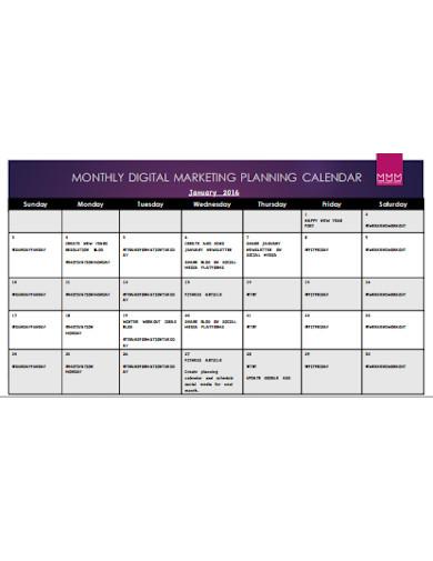 digital marketing plan calendar