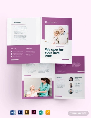 elder care nursing home bi fold brochure templates