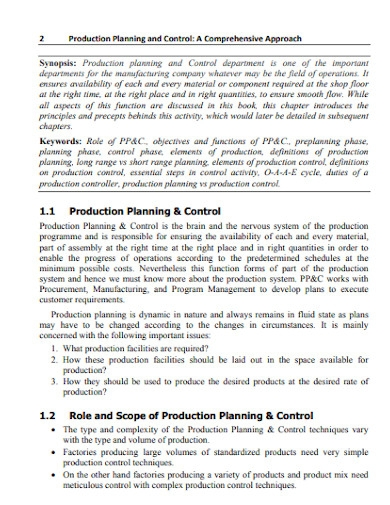 elements of production planning and control