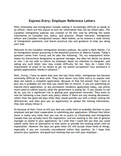 employer reference letter for immigration