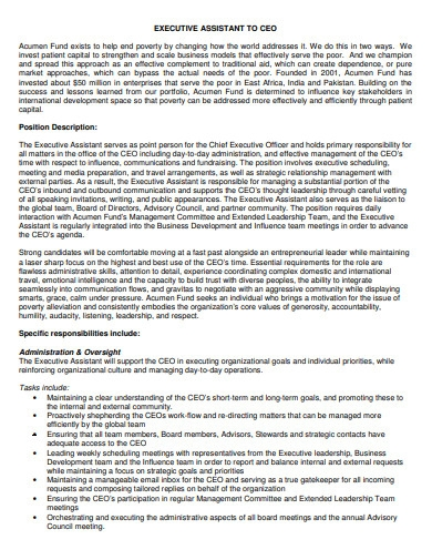 executive assistant to ceo cover letter