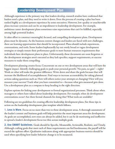 executive leadership development plan