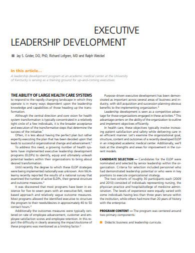 executive leadership development program and plan