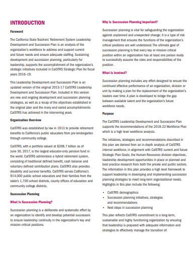 executive leadership development and succession plan