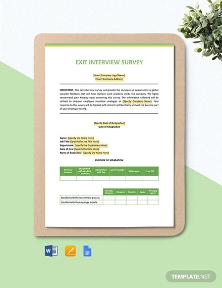exit interview survey template
