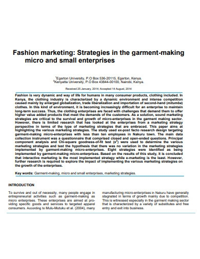 fashion marketing plan for sample enterprises
