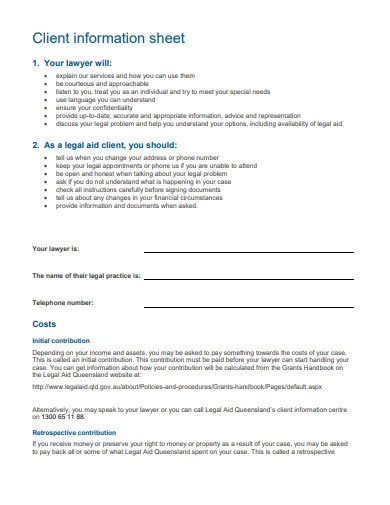 formal client information sheet