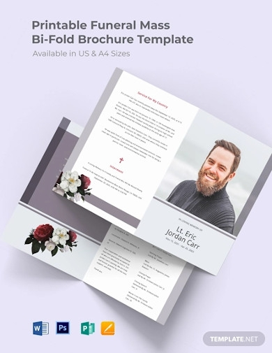 free printable funeral program bi fold brochure template