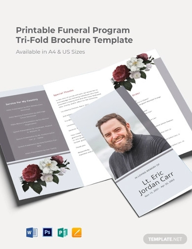 free printable funeral program tri fold brochure template