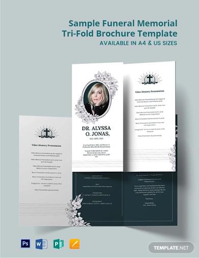 free sample funeral memorial tri fold brochure template