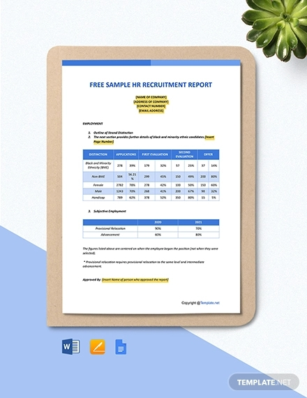 free sample hr recruitment report template