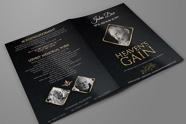 funeral program bi fold brochure template