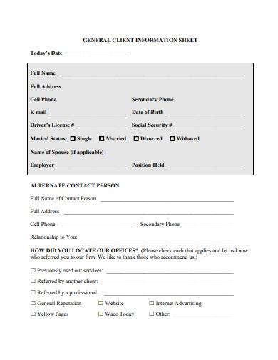 general client information sheet
