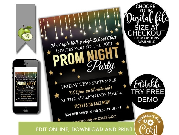 graduation prom invitation flyer