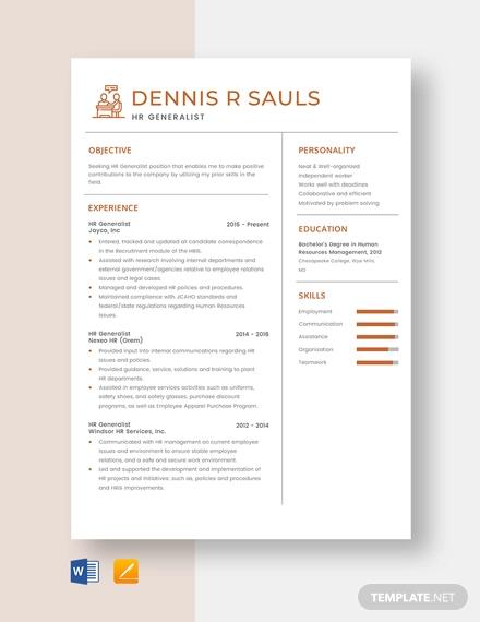 hr generalist resume template