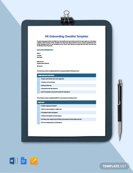 hr onboarding checklist template
