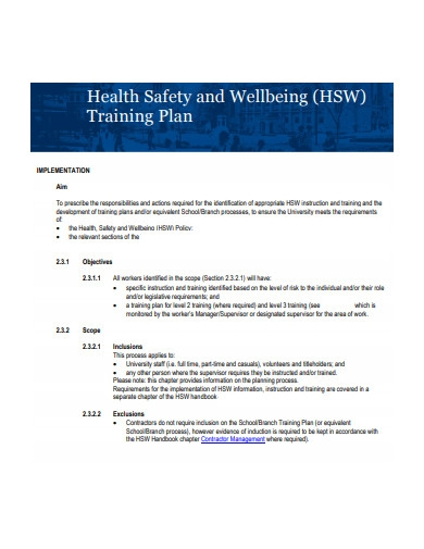 health safety and wellbeing training plan
