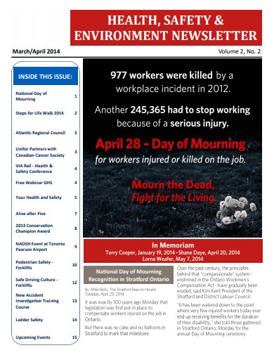 health and safety environment newsletter