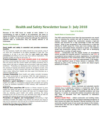 health and safety newsletter