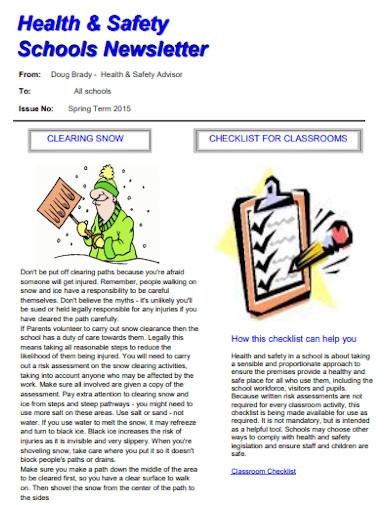 health and safety schools newsletter
