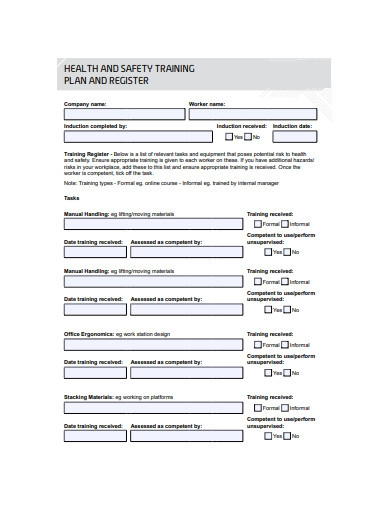 health and safety training plan register