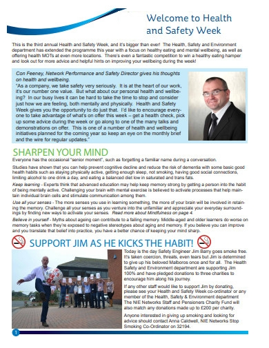 health and safety week newsletter