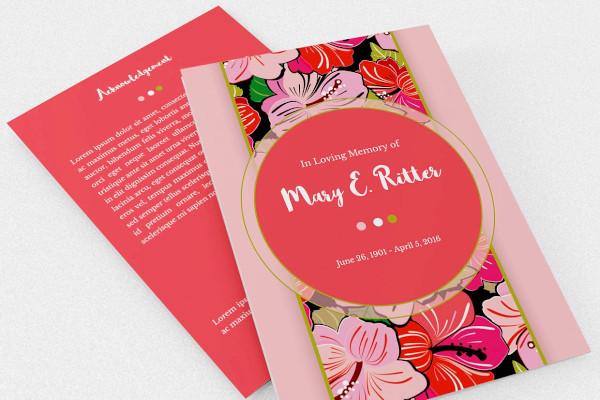 hibiscus a5 tri fold funeral program