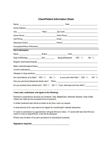 hospital client information sheet