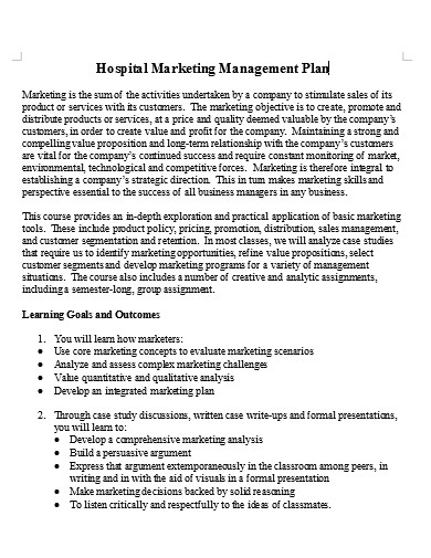 hospital marketing management plan