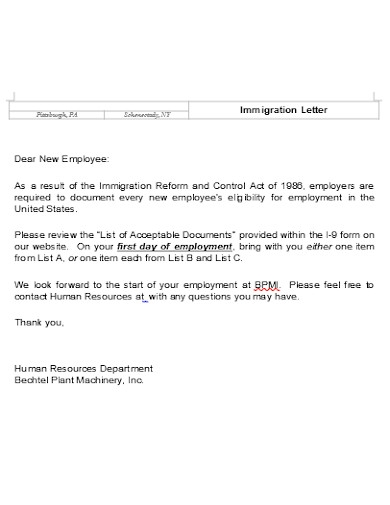 immigration letter example