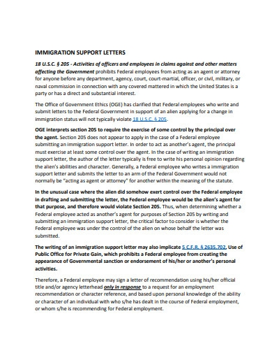 immigration support letter