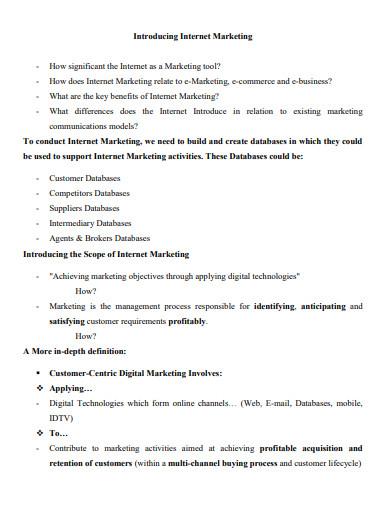 internet marketing management plan