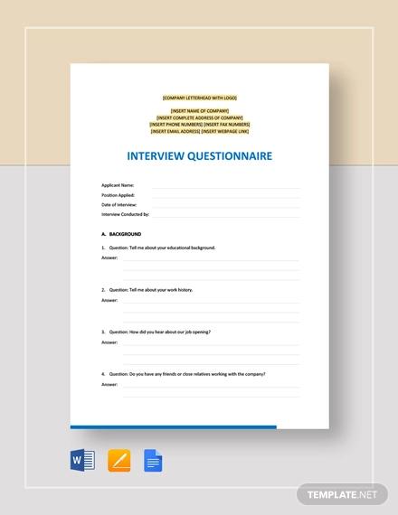 interview questionnaire template