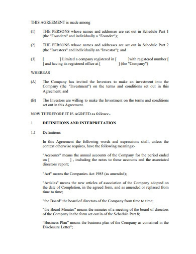 investment agreement between individual and individual