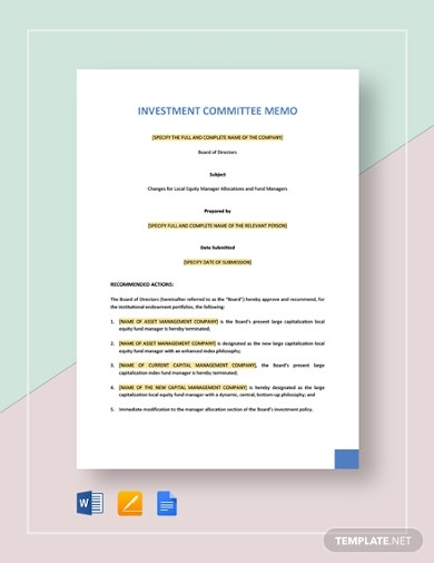 investment committee memo