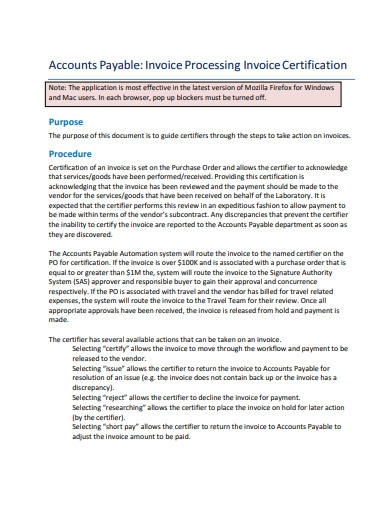 invoice processing invoice certification