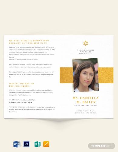 jewish funeral obituary bi fold brochure