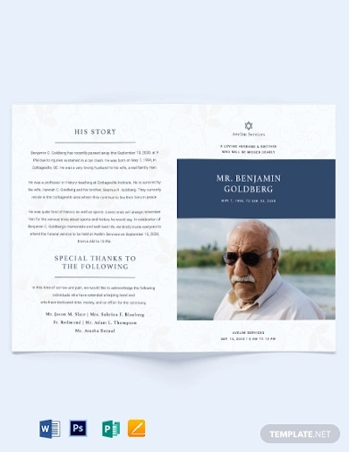 jewish funeral program bi fold brochure template