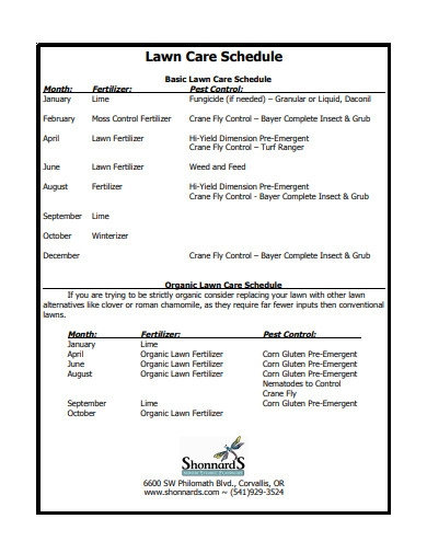 lawn care schedule example