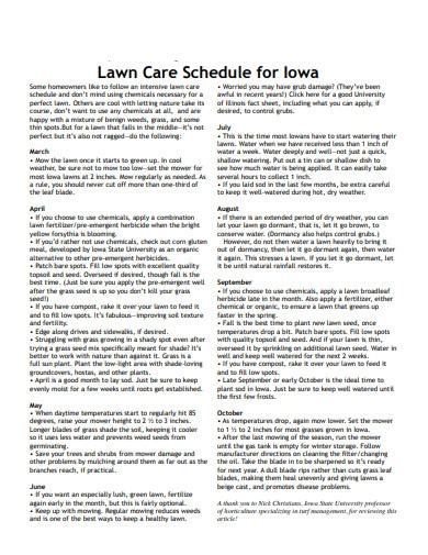 lawn care schedule for lowa