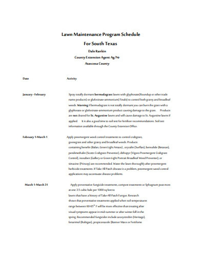 lawn maintenance program schedule