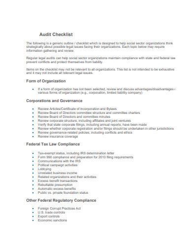 legal audit checklist