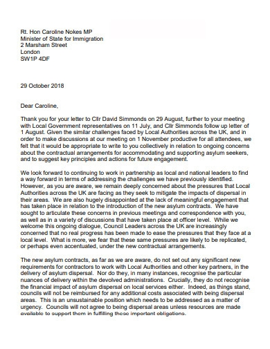 letter of immigration to minister