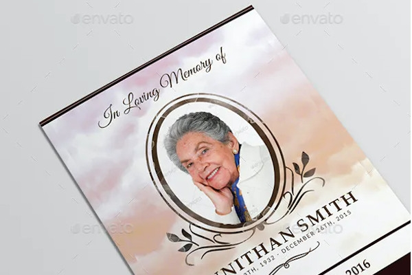 loving memory funeral program brochure template